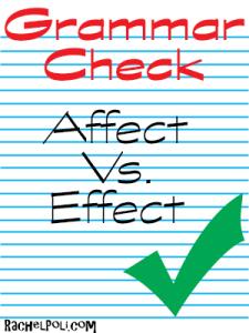 Grammar Check Affect vs. Effect Rachel Poli