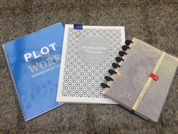 Three planners: Plot Your Work 2017 AuthorLife, WriteMind Planner