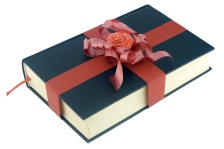 Red ribbon tied black book over white background