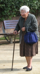 old lady walking