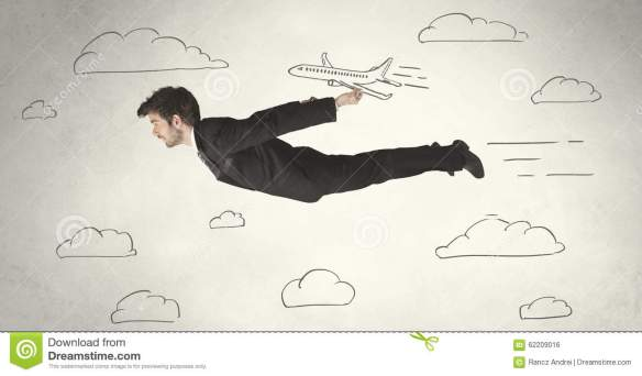 man in business suit flying