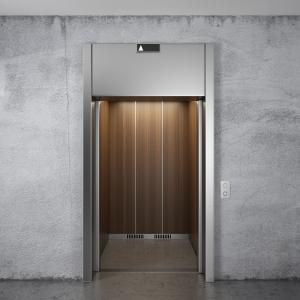 Elevator with opened doors