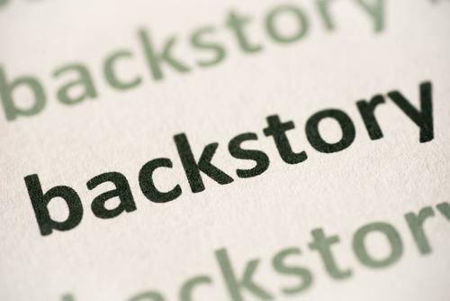 word backstory printed on paper macro