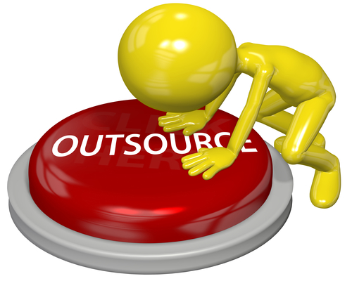 Business person cartoon push OUTSOURCE button concept