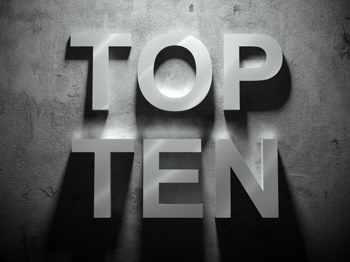 Top ten text with shadow, word