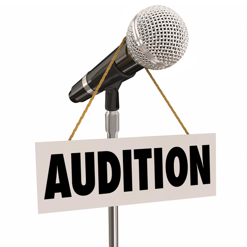 Audition Sign Hanging from Microphone Try-Outs Performance