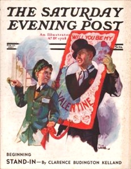 Saturday Evening Post, 1937. Delivery boy ringing doorbell, waits with man in formal attire (and top hat) who has his head through a cut out in a big Valentine card