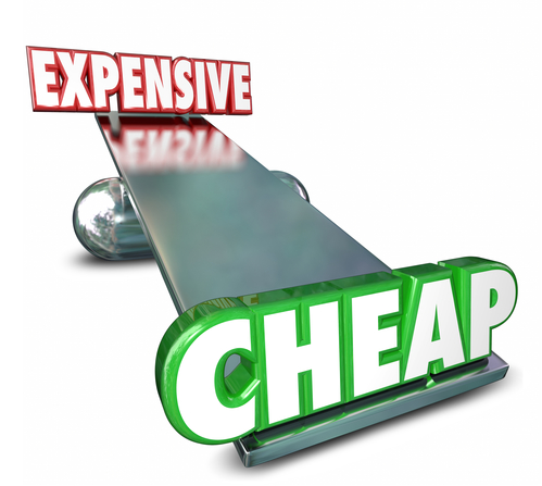 Cheap Vs Expensive See Saw Balance Comparing Prices Costs