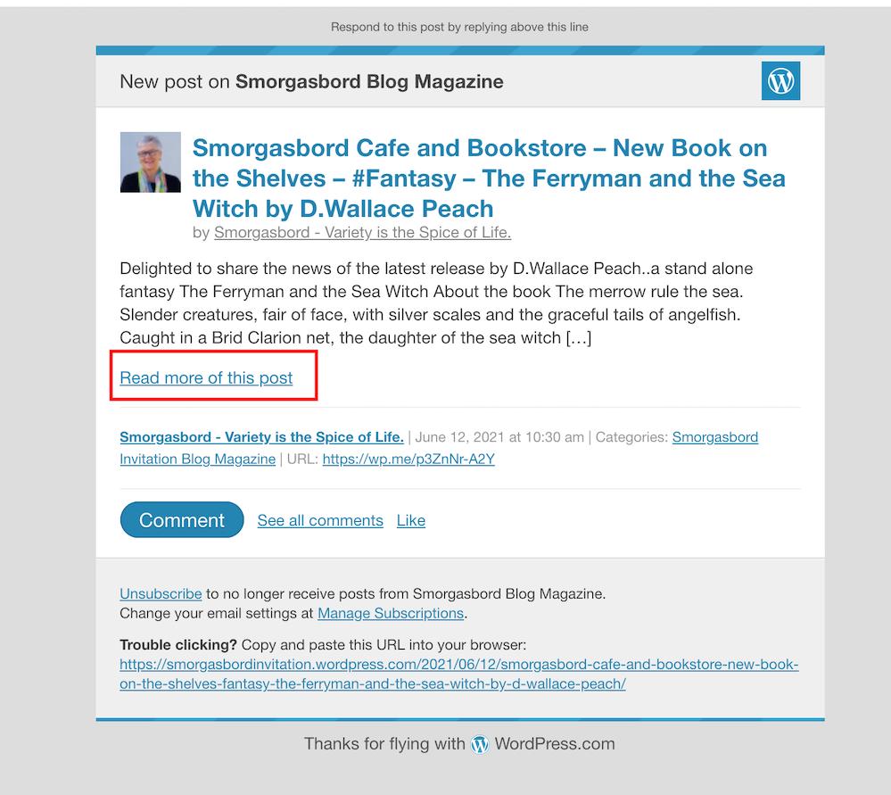 Screenshot showing a new WordPress blog post notification from Sally Cronin